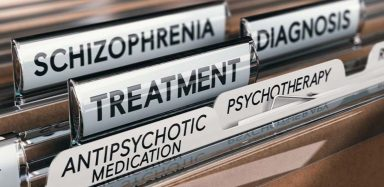 "A file folder labelled ""Schizophrenia Treatment"""