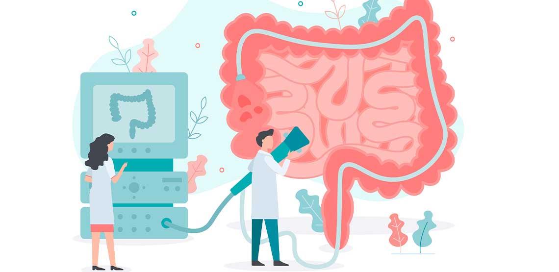 An illustration of doctors examining intestines.