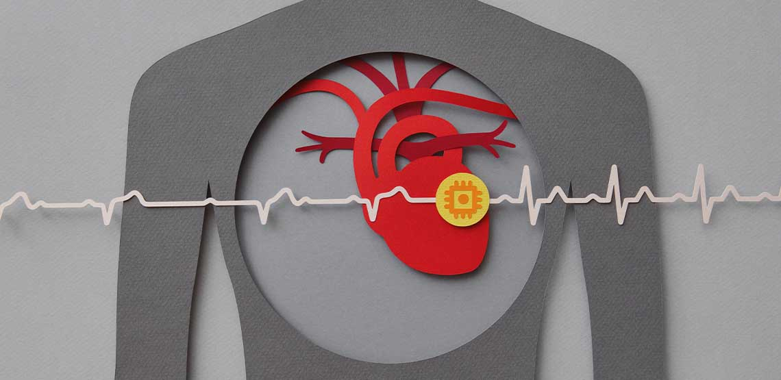 A grey and red illustration of a heart in a person's chest with a heart monitor line going through it.