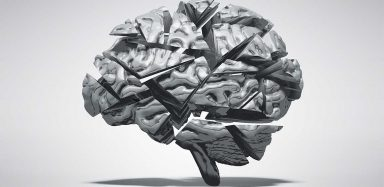 A grey graphic of a brain.